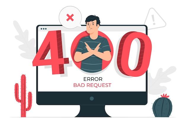 Illustrazione di concetto di richiesta errata di 400 errori