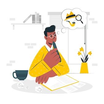 Illustrazione di concetto di scrittura del romanziere