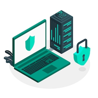 Illustrazione di concetto di server sicuro