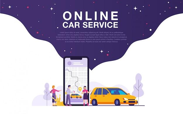 Illustrazione di concetto di servizio auto online