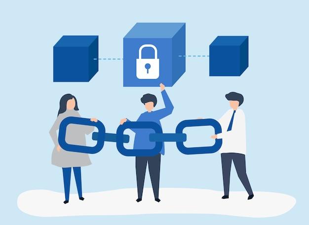 Illustrazione di concetto di sicurezza di persone in possesso di una catena
