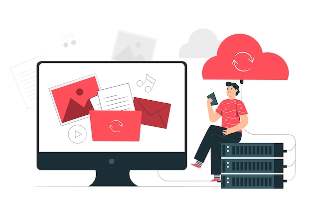 Illustrazione di concetto di sincronizzazione cloud