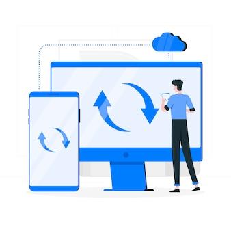 Illustrazione di concetto di sincronizzazione in tempo reale