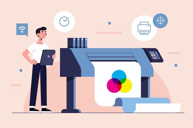 Illustrazione di concetto di stampa digitale
