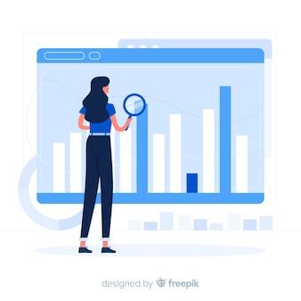 Illustrazione di concetto di statistiche del browser
