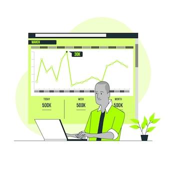 Illustrazione di concetto di statistiche del sito