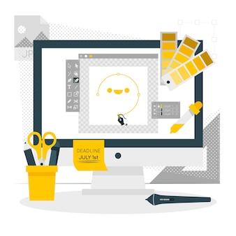 Illustrazione di concetto di strumenti di progettazione