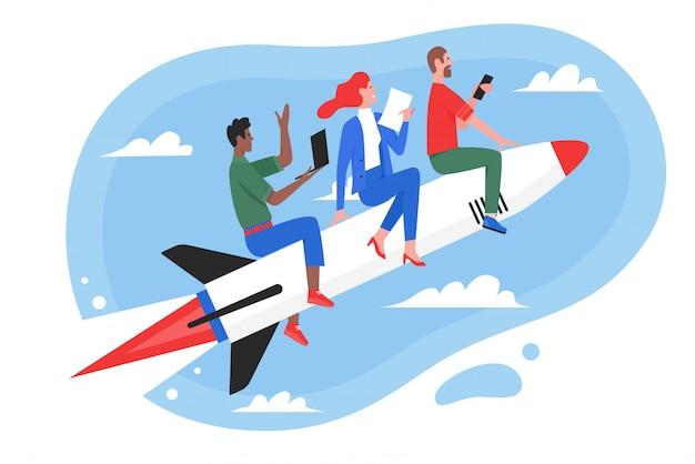 Illustrazione di concetto di successo del lavoro di squadra di affari, volo piano del gruppo della gente del supereroe del fumetto sul razzo veloce, lavorando alla nuova idea o partenza di inizio