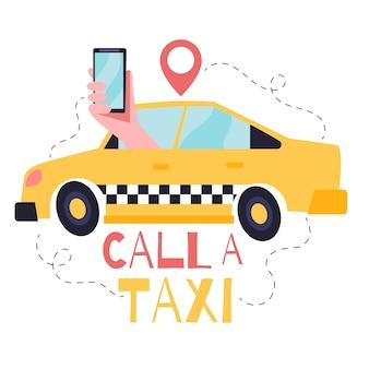 Illustrazione di concetto di taxi app con taxi e mano