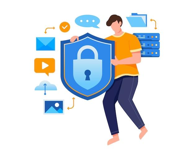 Illustrazione di concetto di tecnologia di protezione dei dati