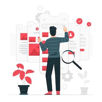 Illustrazione di concetto di test di usabilità
