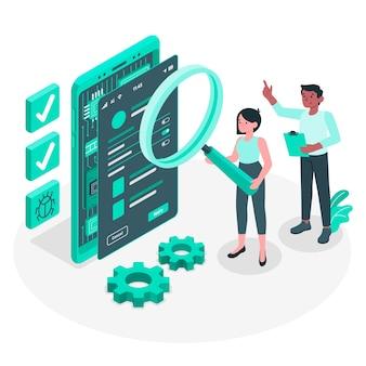 Illustrazione di concetto di test mobile