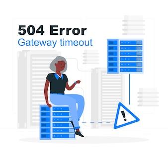 Illustrazione di concetto di timeout del gateway di errore 504