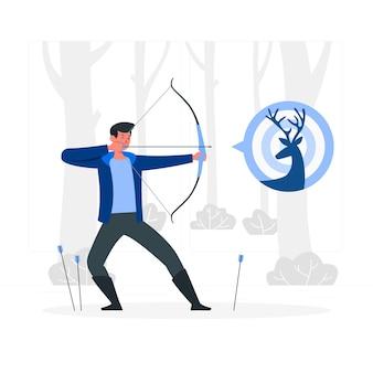 Illustrazione di concetto di tiro con l'arco
