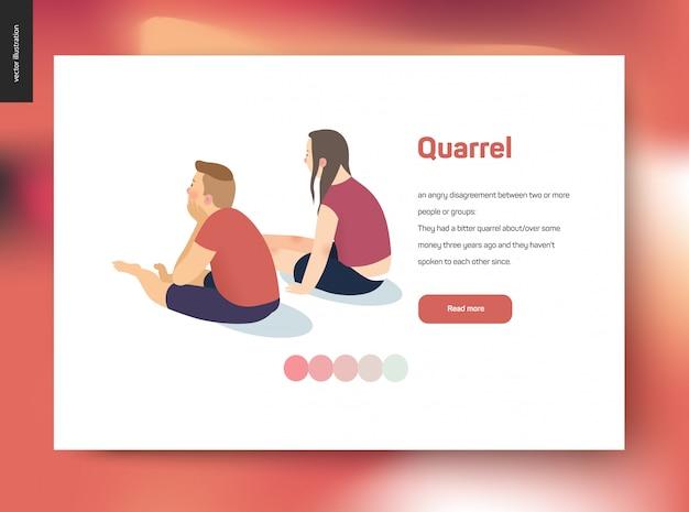 Illustrazione di concetto di vettore di litigio - una scena con una giovane coppia che si siede in un silenzio che si allontana l'un l'altro dopo un conflitto, modello web