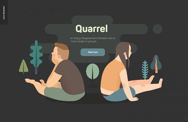 Illustrazione di concetto di vettore di litigio - una scena con una seduta delle giovani coppie che si allontana l'un l'altro dopo un conflitto
