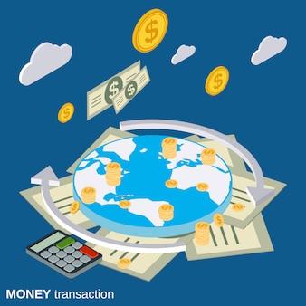 Illustrazione di concetto di vettore di transazioni di denaro