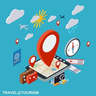Illustrazione di concetto di vettore isometrico piano di viaggio