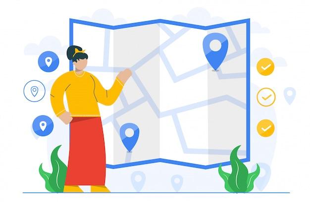 Illustrazione di concetto di viaggio per il modello della pagina di destinazione