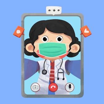 Illustrazione di concetto di video chiamata di medico