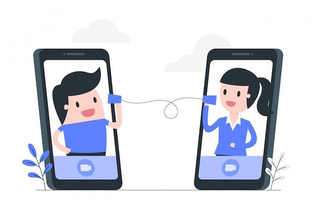 Illustrazione di concetto di videoconferenza.