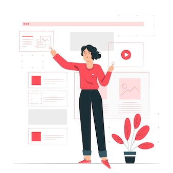 Illustrazione di concetto di wireframing
