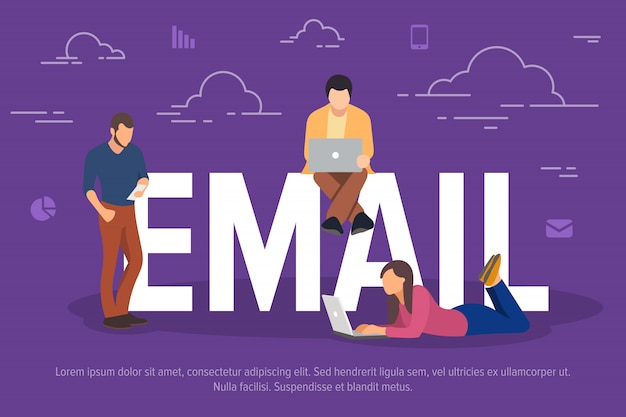Illustrazione di concetto e-mail. uomini d'affari che utilizzano dispositivi per l'invio di e-mail.