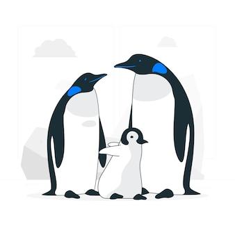 Illustrazione di concetto familiare del pinguino