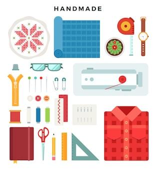 Illustrazione di concetto fatto a mano strumenti e materiali per cucire e cucire