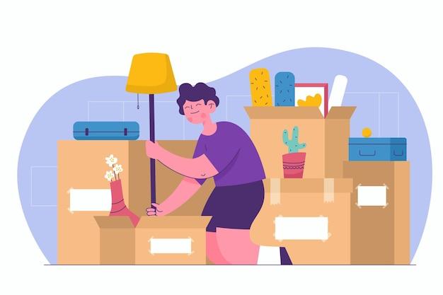Illustrazione di concetto in movimento casa