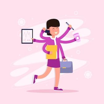 Illustrazione di concetto multitasking colorato