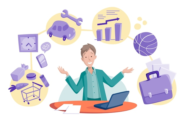 Illustrazione di concetto multitasking uomo