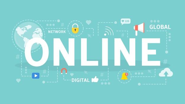 Illustrazione di concetto online. idea di rete, connessione e internet.