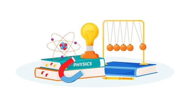 Illustrazione di concetto piatto di fisica. materia scolastica. metafora delle scienze naturali. lezione pratica. corso universitario. libro di testo per studenti e oggetti di laboratorio scolastico oggetti del fumetto 2d