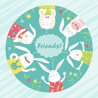 Illustrazione di conigli dei cartoni animati