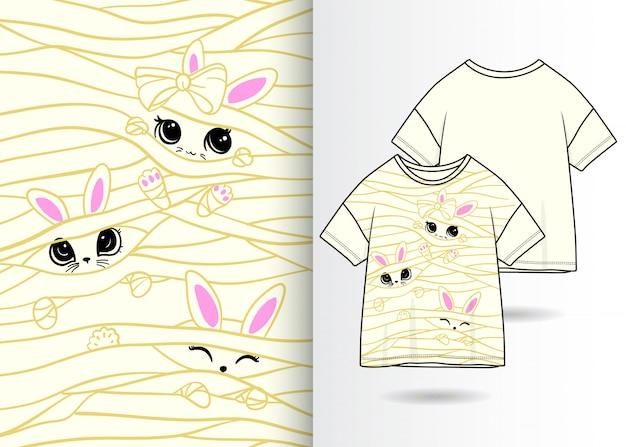Illustrazione di coniglio carino disegnato a mano con design t-shirt