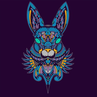 Illustrazione di coniglio colorato, zentangle mandala e design tshirt