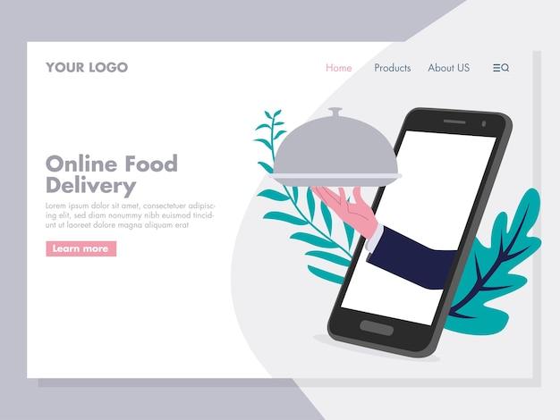 Illustrazione di consegna cibo online per pagina di destinazione 2