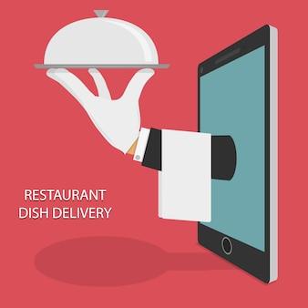 Illustrazione di consegna cibo ristorante.