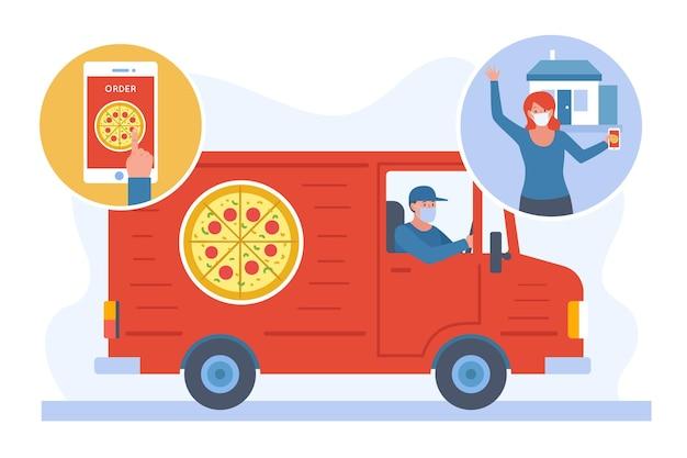 Illustrazione di consegna cibo sicuro