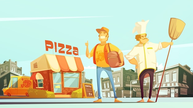 Illustrazione di consegna della pizza