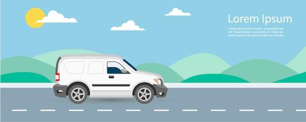 Illustrazione di consegna gratuita e veloce di auto van con modello di testo. van guida su autostrada con cielo blu e verdi colline.