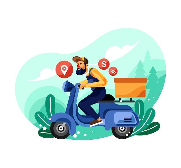 Illustrazione di consegna moto servizio corriere