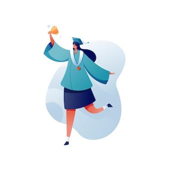 Illustrazione di conseguimento di graduazione