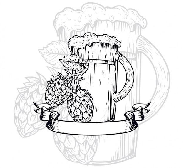 Illustrazione di contorno di birra artigianale