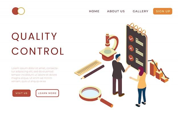 Illustrazione di controllo di qualità e standardizzazione dei prodotti fabbricati nell'illustrazione isometrica 3d