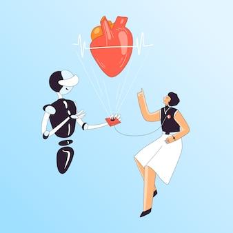 Illustrazione di controllo medico di salute del cuore - donna con sensore cardiaco e robot cardiologo ai che controlla salute, battiti e pressione sanguigna cordiali.