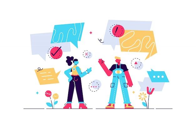 Illustrazione di conversazione. concetto di persone bolla piatta minuscola parlando. discussione sociale per esprimere pensieri verbali. comunicazione di dialogo idea astratta. incontro di domande e risposte faccia a faccia