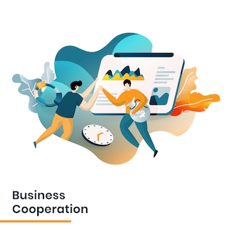 Illustrazione di cooperazione commerciale