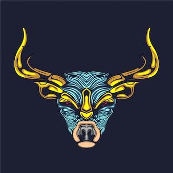 Illustrazione di corna d'oro renna